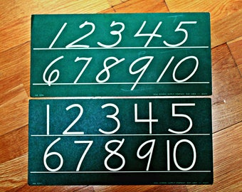 vintage numbers 1-10 wall charts in two fonts, penmanship charts, vintage writing charts, math class chart, numeral charts, green charts