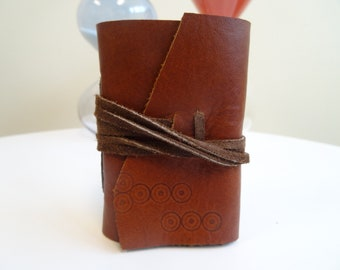 Very Small Leather Book, handmade, wrapped