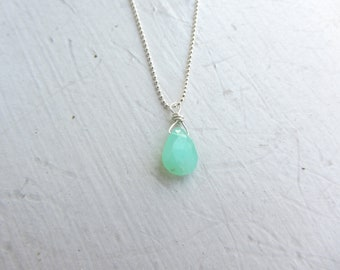 "Chrysoprase Necklace, Gemini Gift, May Birthday Gift, May Gemstone, Beach Jewelry, Surfer Girl, 20"" Necklace, Sterling Silver Chain,"