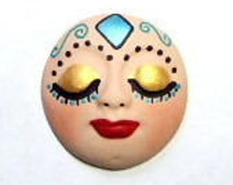 face cab, cabochon, polymer clay, art doll face