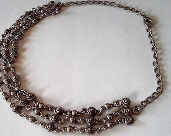 Vintage Estate Etruscan Style Chain Link Choker Necklace