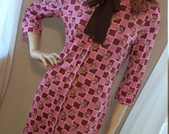 Vintage 1970s Cacharel Knit Day Dress Size S/M Fabulous