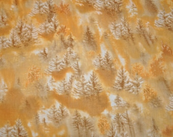 One Yard of Gold Evergreen Tree 100% Cotton Quilt Fabric by Benartex
