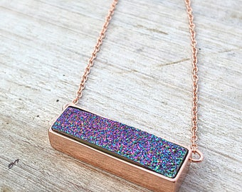 Rose gold necklace, bar necklace, peacock druzy necklace, rainbow necklace, bridesmaid gift, minimalist, raw stone necklace ,great gatsby