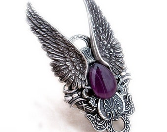 Gothic Ring Full Finger Ring Angel Wings Ring Gothic Jewelry silver Purple ring Statement ring Rocker Ring hypoallergenic