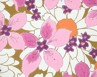Retro Wallpaper by the Yard 70s Vintage Wallpaper - 1970s Pink and Fuschia Flowers with Large White and Orange Daisies