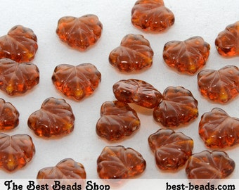 30pcs Brown Maple Leaf Czech Glass Pressed Beads 13x11mm
