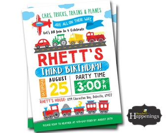 Transportation Invitation Truck Birthday Invite FIRE TRUCK INVITE Tractor Birthday Invite Boys Birthday Digital File Busy bee's Happenings