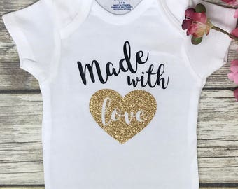 Made with Love, Baby Girl Onesie, Baby Shower Gift, Baby Girl Gift, Infant Clothing, Cute Baby Gift, Newborn Onesie