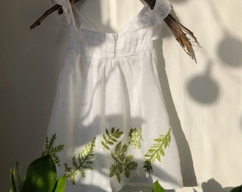 Cotton baby dress with botanical hand embroidery. Embroidered plants.