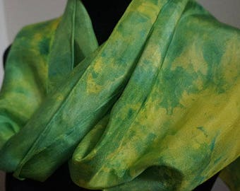 clothing, gifts, hand dyed silk scarf, ice-dyed silk scarf, hand dyed scarf, 100%,silk scarf, scarf, ladies  scarf, fashion scarf,neck scarf