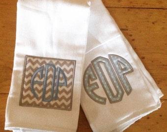 Boys Blue and Grey Monogrammed Burp Cloth Set