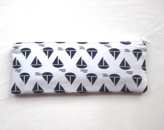 Skinny Sailboats Zipper Pouch / Pencil Case