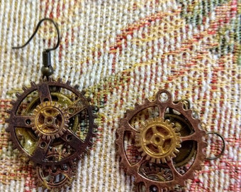 Steam punk bronze and copper earrings