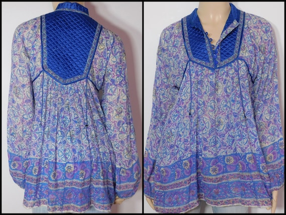 US Block Blouse~ Print Dimensions~ Blue Bib Womens Vintage Sheer Medium See Unique ~ Made Gauze India~ 70s in w7gFqf