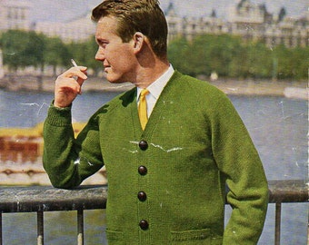 "mens v neck cardigan with pockets knitting pattern mans cardigan 38-44"" DK light worsted 8 ply mens knitting pattern pdf download"