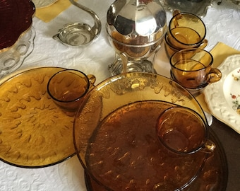 12 Piece-Indiana Glass Amber Dinner Sized Snack Plates and Cups
