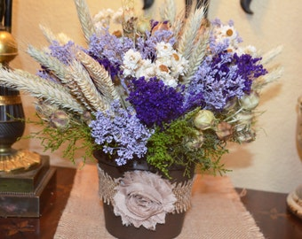 Dried Flower Arrangement with Colorful Purple Lavender and Ivory Dried Flowers