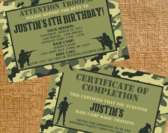 Customized Army Camo Birthday Party Invite & Thank You Certificate - Digital Files