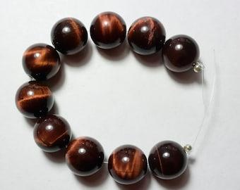 Gleaming Red Tiger Eye Beads -  12mm red Tiger Eye Beads - Round Tiger Eye - Red Tiger Eye -  10 Beads