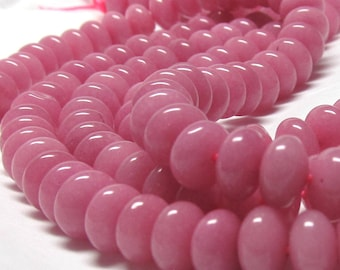 Rose Agate Rondelle Beads 8 X 4mm Dusty Rose Pink Smooth Rondelle- 24 Pieces