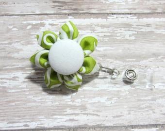Green Swirl Flower Retractable Badge Reel, Lanyard, ID Holder, Badge Holder, Kanzashi Badge Reel, Badge Lanyard, Auburn