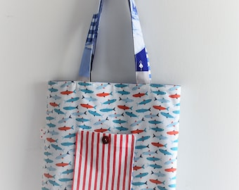 tote bag reversible red and blue fish MADE IN fRANCE