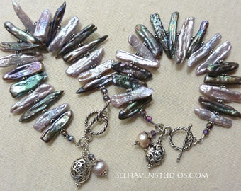 Fancy stick Biwa Freshwater pearls crystals Balinese sterling silver bracelet|Stick pearls| Summer Resort Beachy pearls jewelry
