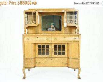Oak Buffet   Antique Sideboard   Vintage Credenza   Mirrored Sideboard   B786