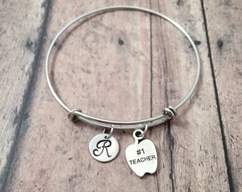 Teacher initial bangle - teacher jewelry, apple jewelry, gift for teacher, silver apple pendant, teacher appreciation gift, teacher pendant