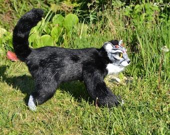 Black Cheetah, fashion Art Doll, jointed, animal fur, BJD doll, resin, ocelot cat