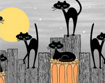 Black cat fabric,  Halloween fabric,Halloween border print Michael Miller Bats and Black Cats Free Domestic Ship over 50