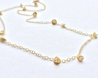 Gold and Pearl Tiny Petals Necklace/  22 inch, gold, pearl,wedding, bride, bridesmaids, summer ,