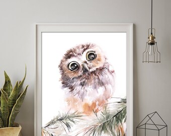 Owl Fine Art Print, Watercolor Painting Print, Owl Bird Fine Art Print, Bird Art, Owl Wall Art Print