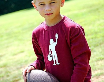 Football Player Long Sleeved Nostalgic Graphic Tee in Maroon with White FREE SHIPPING