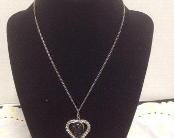 Vintage Valentine Heart Necklace Rhinestones with Black Embossed Stone