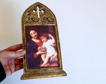 Vintage Madonna and Child Religious Wall Display