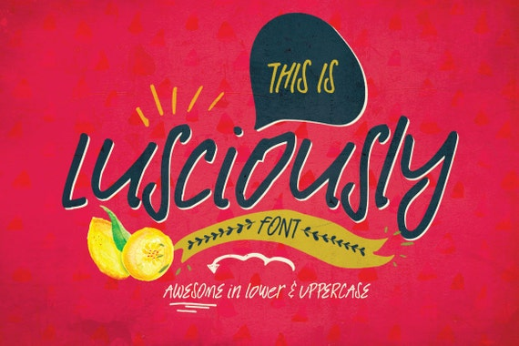 Digital Font Lusciously - Digital Typeface - Hand drawn signature font - Instant Download -