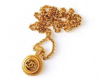 Large Gold Designer Cutout Button Necklace