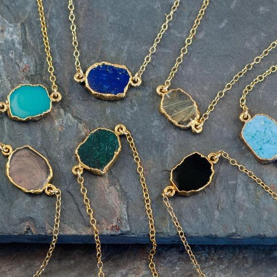 Gemstone Slice Connector Necklace Gemstone Choker Layered