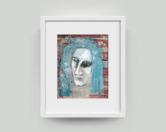 Portrait, painting 10/8 inch (25.4/20.3 cm) abstract art