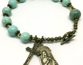 CATHOLIC ROSARY Bracelet St. Therese Medal Saint Bracelet Handcrafted Bronze Aqua Blue Turquoise GEMSTONE Catholic Jewelry St. Bracelet