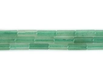"13mm Green Aventurine Cylinder tube loose gemstone beads 16"""