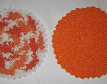 Crochet Cotton Round Dishcloth/Washcloth set of 2 in Orange