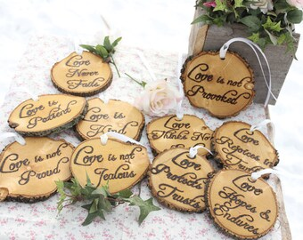 Love is Patient, Love is Kind, Set of Ten 1.Cor.13: Rustic Wedding Aisle Decorations Bible Scripture Verses