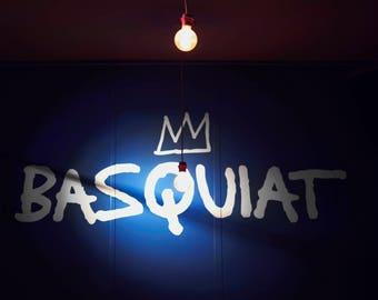 Basquiat Wall Interior. Blue Light Wall Photography. Digital Print