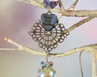Baby's First Christmas, Christmas Ornament, Teddy Bear Crystal
