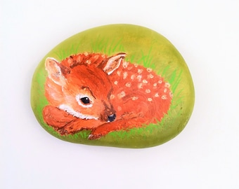 handmade deer Fawn painted Pebble, little Bambi