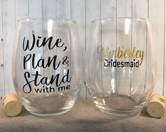 bridal party proposal, maid of honor proposal, bridal party gifts, bridal party glasse, bridesmaid proposal, wine with me glass,