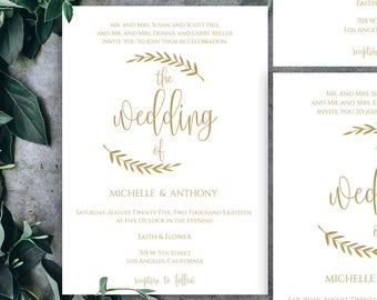 Gold Wedding Invitation Kit, Gold Wedding Invitation, Gold Wedding Invitation Template, Wedding Invitation Gold Foil, Gold Wedding, Gold, 15